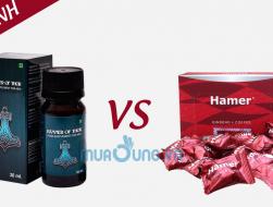 So sánh công dụng  và cách sử dụng  giọt dưỡng chất Hammer of thor với Kẹo sâm Hamer